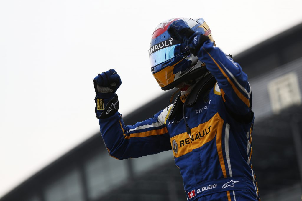 FIA Formula E Championship 2015/16. Beijing ePrix, Beijing, China. Sebastien Buemi (SUI), Renault e.Dams Z.E.15, celebrates his win Race Beijing, China, Asia. Saturday 24 October 2015 Photo: Sam Bloxham / LAT / FE ref: Digital Image _SBL7841
